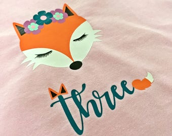 Personalized birthday t-shirt, age t-shirt, forest creature, woodland animal, cute kids t-shirt, birthday girl, fox, girls birthday shirt