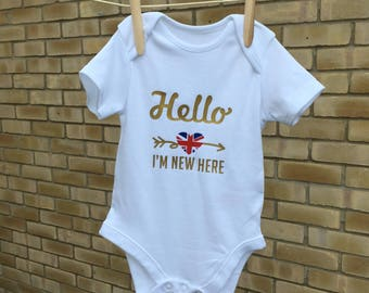 New baby British themed baby grow, infant bodysuit, England gift, new baby gift, baby shower present, new parents, newborn unique gift