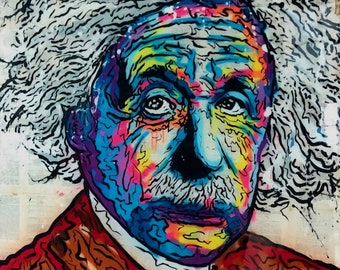 55cd3178500 Alec Monopoly Oil Painting on Canvas Graffiti art wall decor Albert Einstein  Portrait