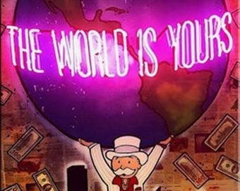 Alec Monopoly The World Is Yours Oil Painting On Canvas Large Wall Picture