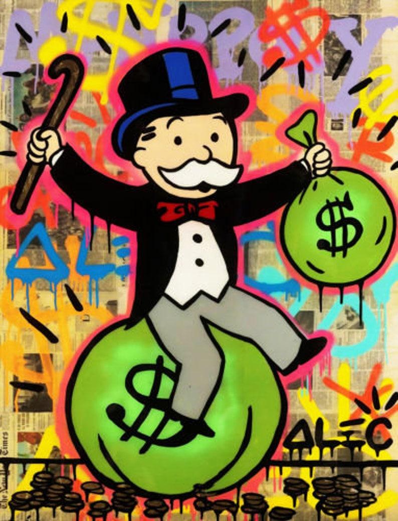 51de7f9c429 Alec Monopoly Oil Painting on Canvas Graffiti art wall decor