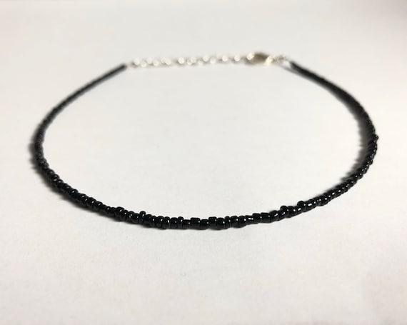 black beaded choker necklace