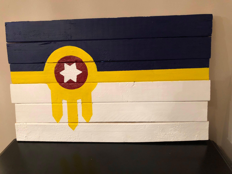 Wooden Tulsa Flag