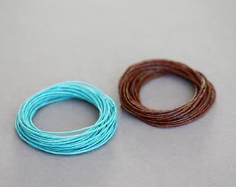 Turquoise and Dark Brown Irish waxed Linen Cord, 7Ply, Organic Cord