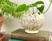 Mid Century Ceramic Planter - Splatter Paint - Pale Yellow - Gold Detail - Cache Pot - Toothed Edge - Globe Style Houseplant Container