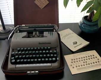 Smith Corona Silent Super - Vintage Portable Typewriter - Holiday Case - Mid Century - Seafoam Green - Green Keys - Manual Included - 1950's