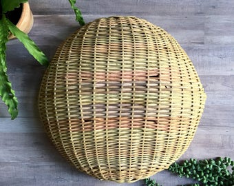 Vintage Wicker Basket - Wall Mount Air Plant Holder - Natural Decor - Hand Woven - Bohemian Texture - Rounded Bottom - Pink - Purple