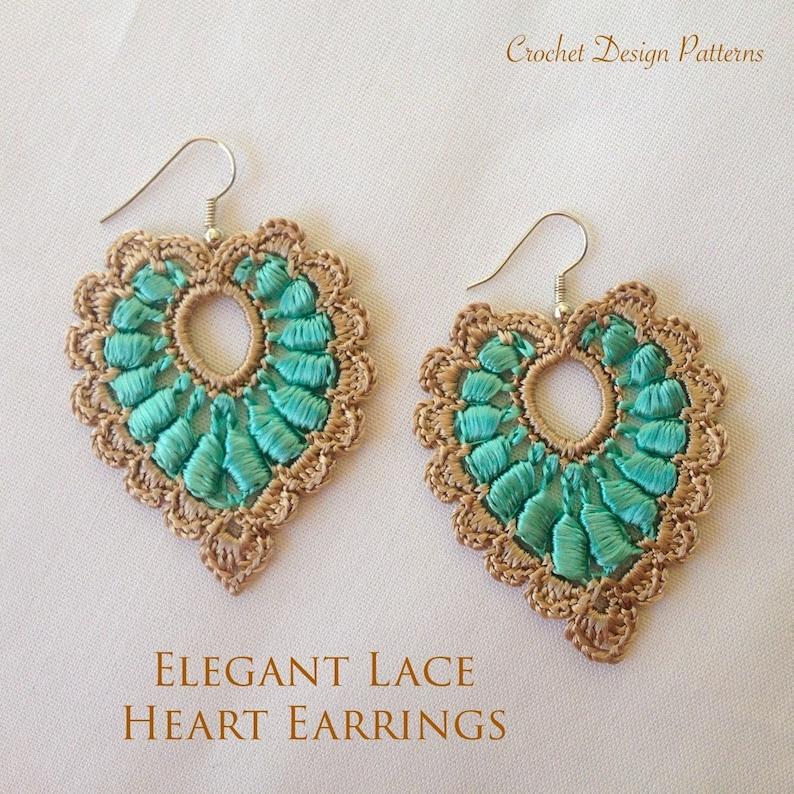Elegant heart lace earrings crochet pdf pattern  how to make image 0