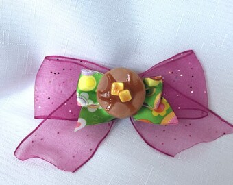 Little Miss Pink and Green Pancakes Hair Bow