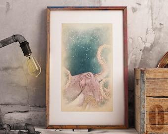 Octopus wall art, tentacles wall decor, octopus tentacle, octopus bathroom art, beachhouse decor, aquatic life print, octopus wall decor