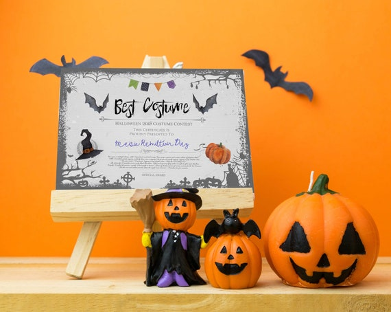 Halloween Party Best Costume Contest Printable Certificate Etsy