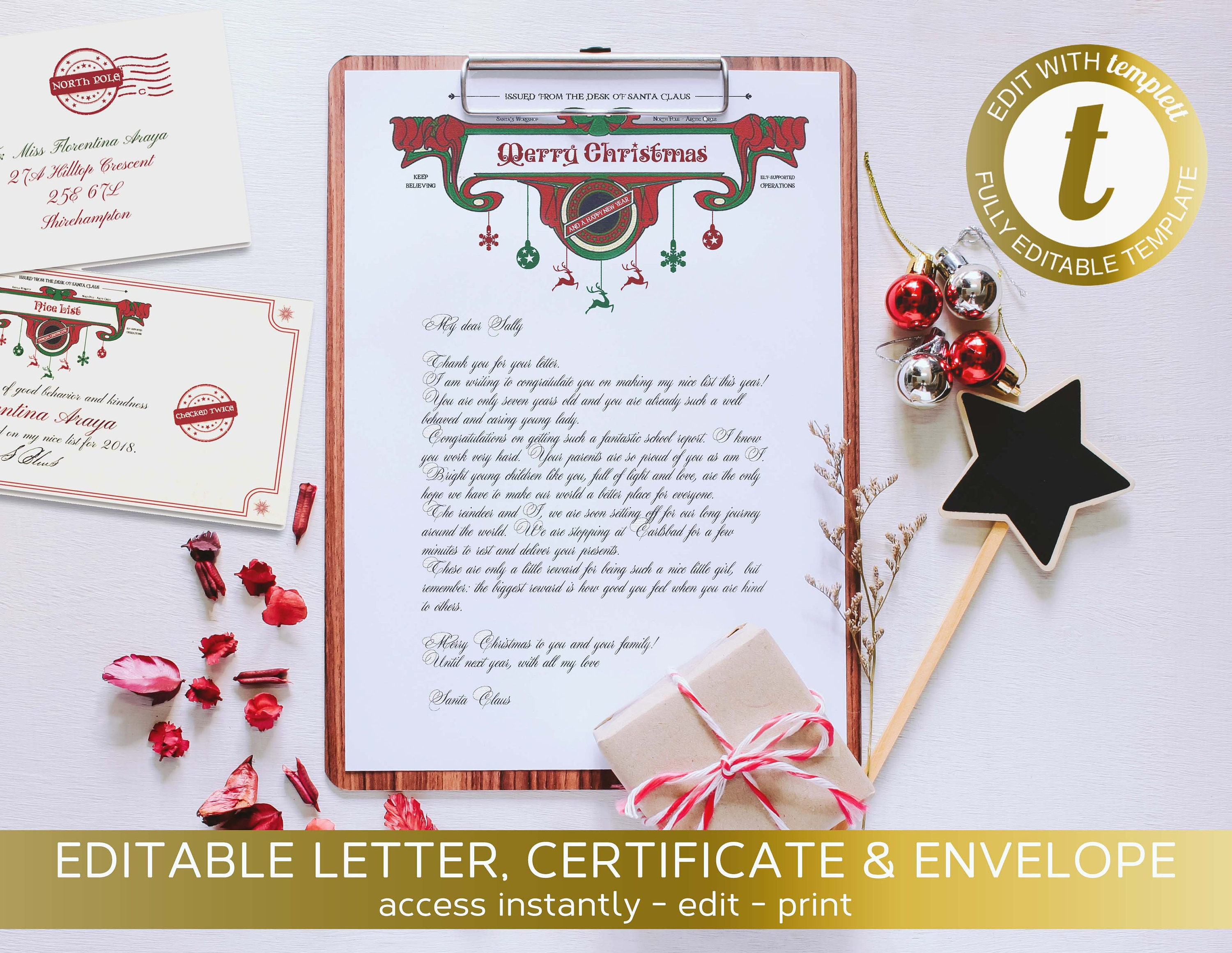 Christmas Letter from Santa Claus ficial Editable North Pole