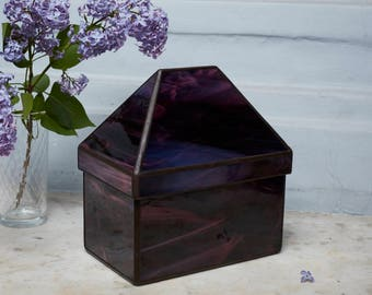 Purple Jewelry Box, Jewelry Organizer, Glass Jewelry Box, Stained Glass Box