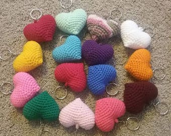 Crochet Heart Keyring for Valentines Day