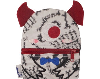 Small monster purse / soul comforter (Fabric with skeleton print)