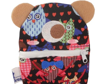 Small monster purse / soul comforter (Fabric with owl print)
