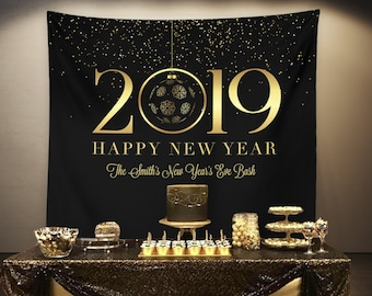 new years eve backdrop new years eve decorations happy new year banner black and gold new years 2019 banner nye party photo prop