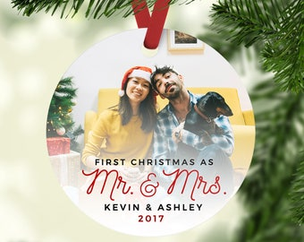first christmas as mr mrs ornament our first christmas married ornament gift for newlyweds personalized wedding photo christmas ornament