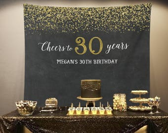 Cheers To 30 Years Banner 30th 50th Birthday Party Photo Backdrop Decorations Gold And Black Anniversary Booth Prop Adult