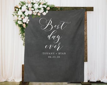 Chalkboard Wedding Photo Backdrop, Ceremony Backdrop, Calligraphy Wedding Reception Backdrop, Best Day Ever Fabric Backdrop, Wedding Decor