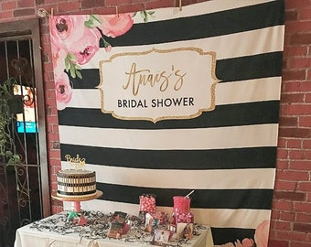 Floral Bridal Shower Backdrop Spade Decor Photo Booth Black And White Striped Bachelorette Party Decorations