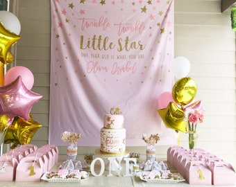 Twinkle Little Star Backdrop First Birthday Party Decor Pink And Gold 1st Girl Decorations Custom