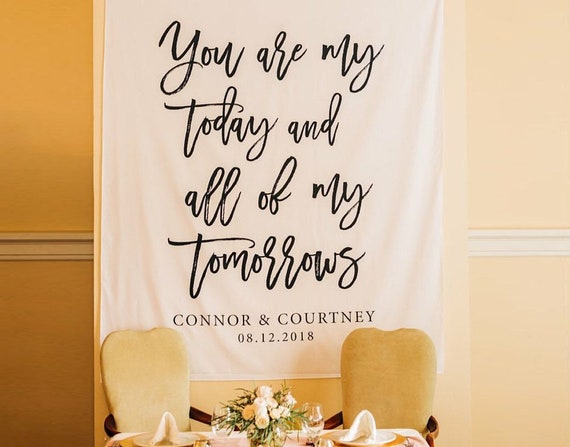 Wedding Backdrop For Reception You Are My Today and All Of My | Etsy