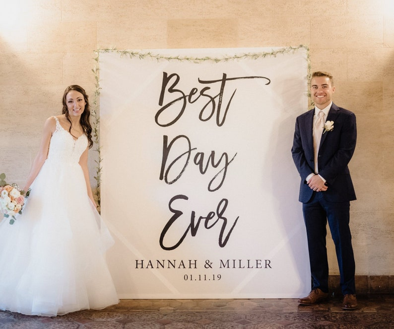 798bc49c2d9 Best Day Ever Banner Wedding Photo Backdrop Wedding