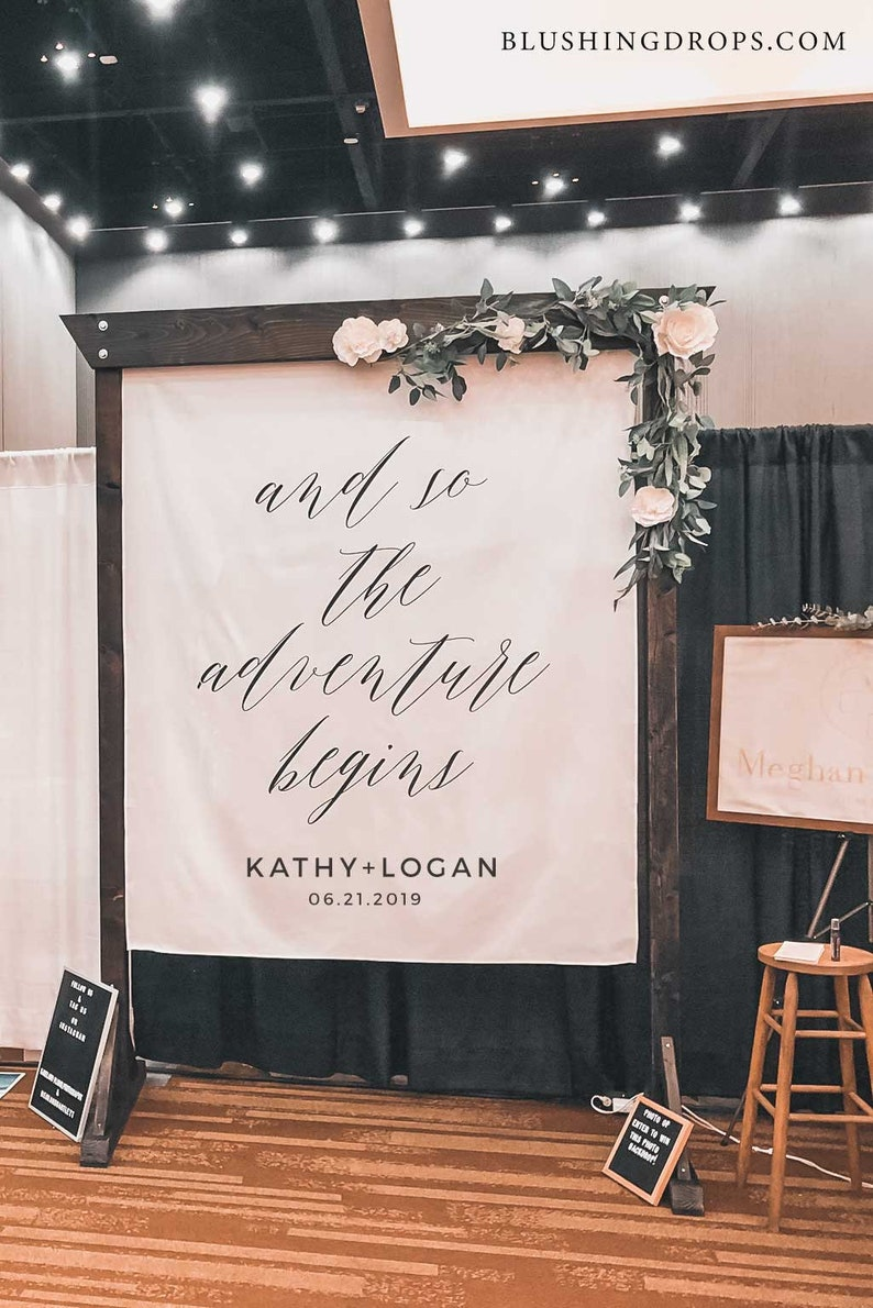 The Adventure Begins Sign Wedding Backdrop Rustic Wedding   Etsy
