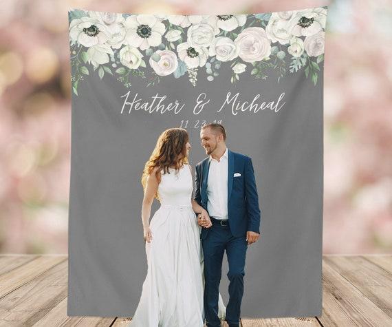 Grey Wedding Backdrop Gray Wedding Decor Photo Booth Etsy