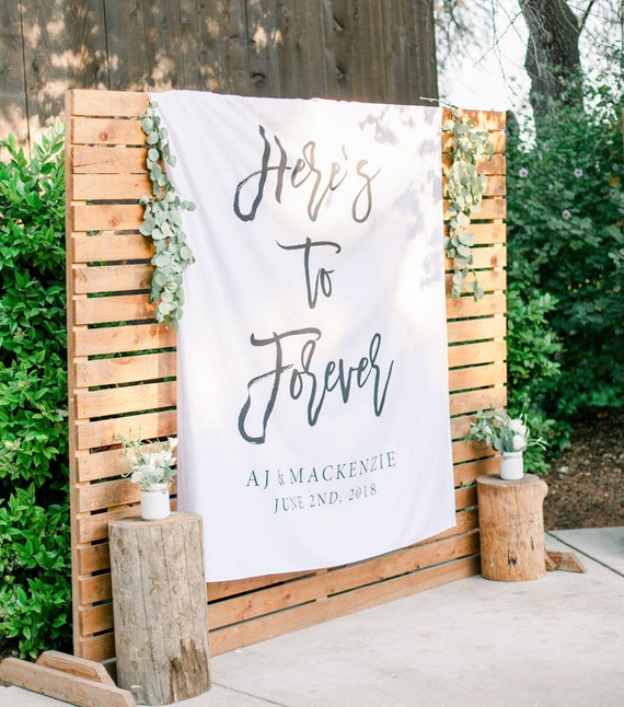 Here's To Forever Banner, Outdoor Wedding Ceremony