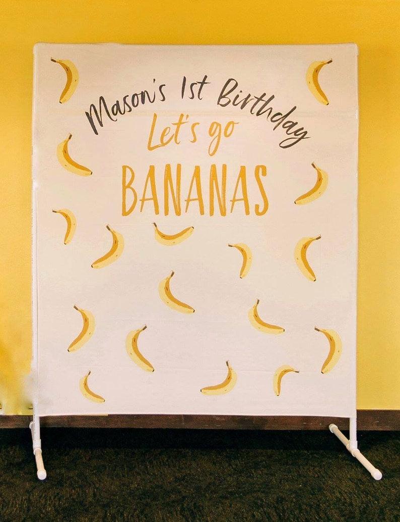 709adc08569b3 Let s Go Bananas Birthday Backdrop Bananas Party Banner