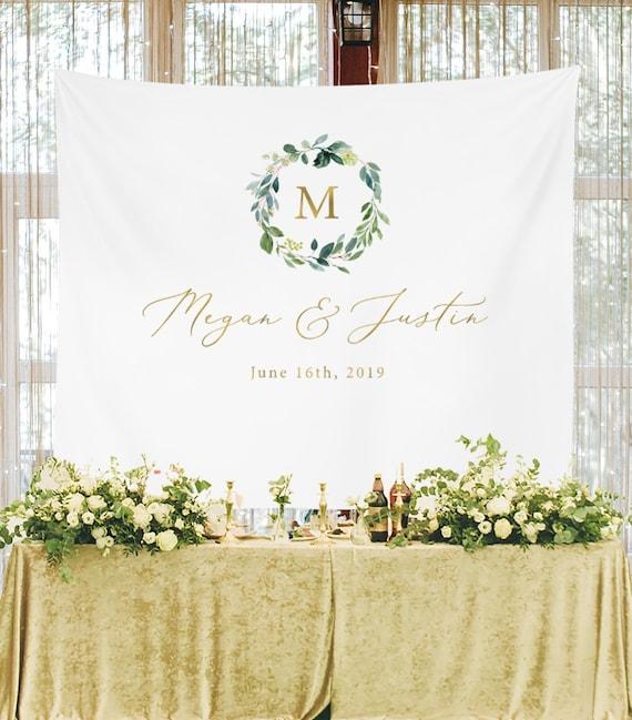 Personalized Wedding Backdrop For Reception Monogram Etsy