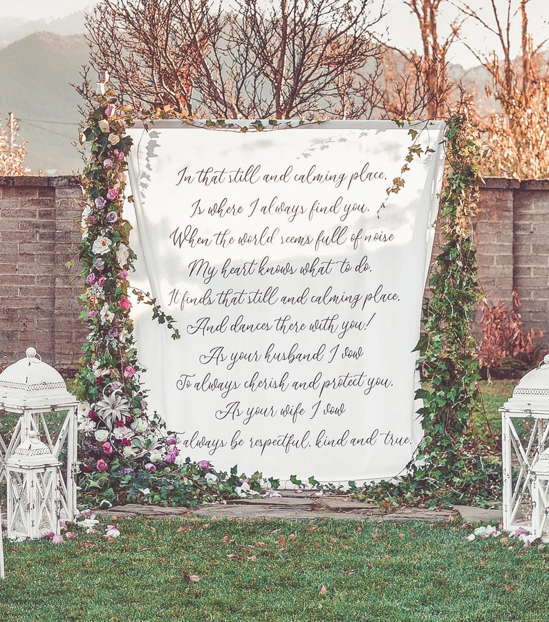 Personalized Wedding Backdrop For Ceremony, Outdoor Wedding Decorations,  Wedding Arch Decor, Rustic Wedding Ideas, Wedding Fabric Backdrop