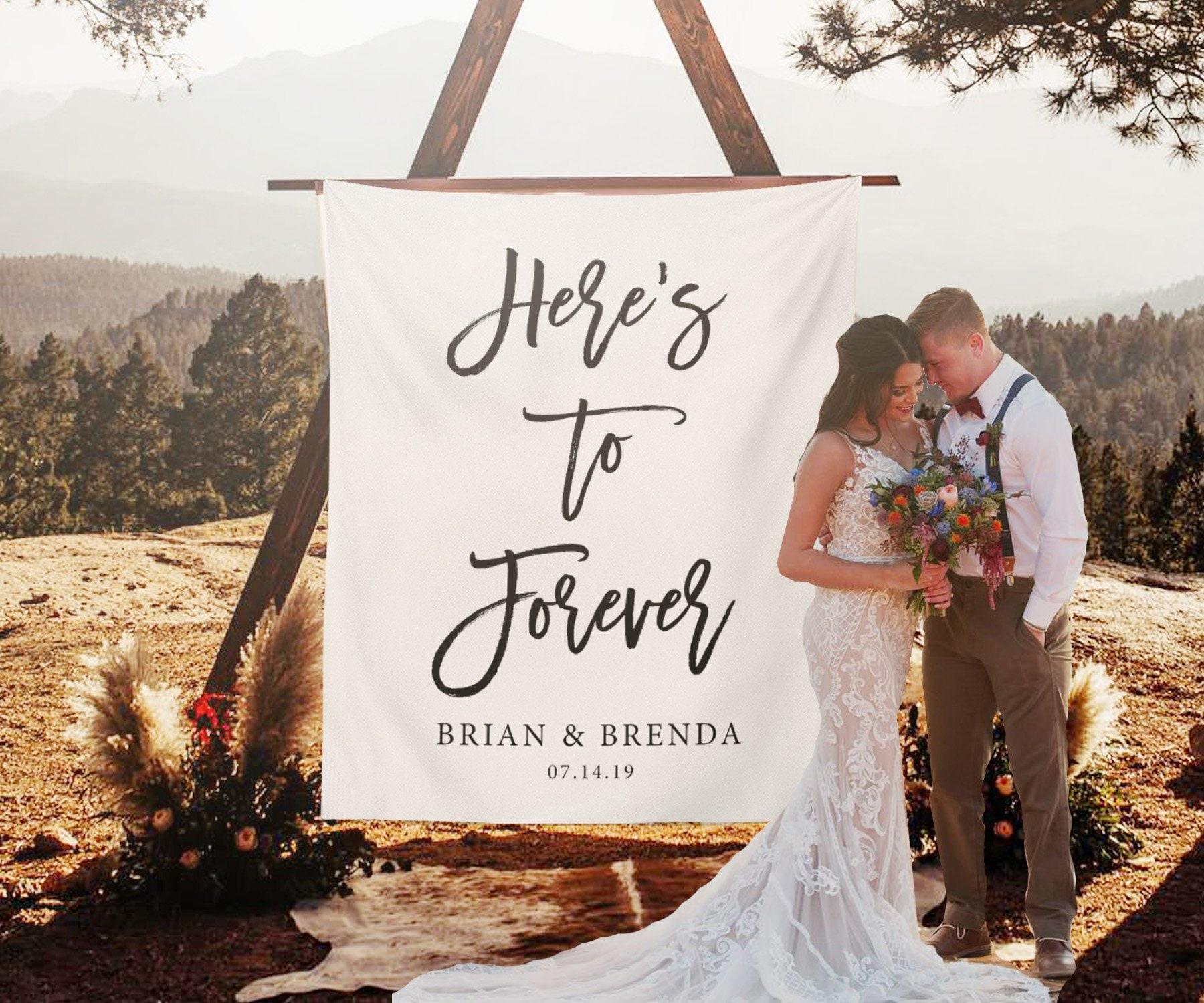 Heres To Forever Banner Custom Wedding Backdrop For Etsy