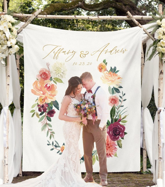 Boho Wedding Backdrop, Personalized Wedding Photo Backdrop