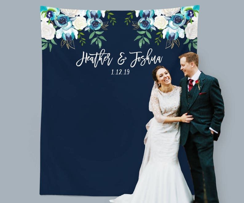 Magnificent Navy Wedding Backdrop Winter Wedding Decor Personalized Backdrop Navy Wedding Photo Booth Sweetheart Table Decor Fabric Backdrop Download Free Architecture Designs Remcamadebymaigaardcom