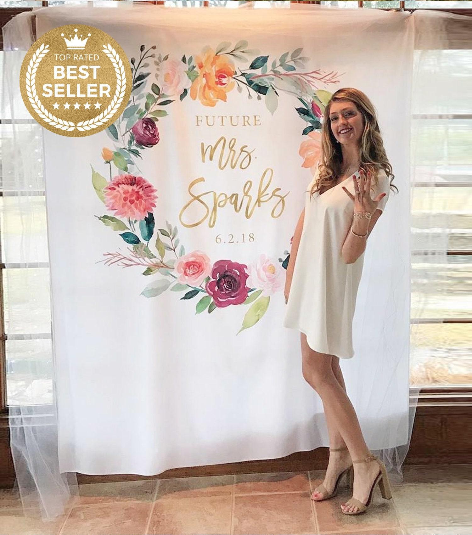 engagement party decor blush watercolor flower bridal shower decorations bachelorette boho custom name sign Future mr and mrs banner