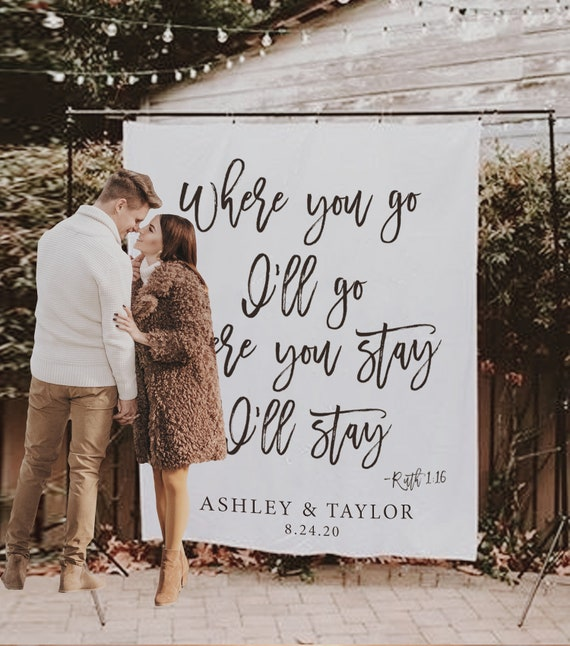 Wedding Backdrop For Reception Christian Wedding Decoration Ideas Rustic Wedding Decor Wedding Banner Backdrop Wedding Bible Verse By Blushingdrops Catch My Party