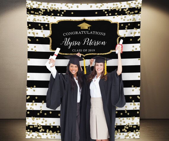 Black And Gold Graduation Photo Booth Backdrop Graduation
