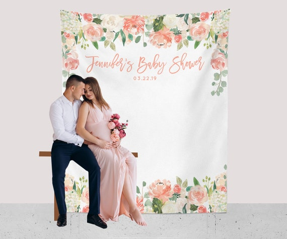 Baby Shower Decorations Girl Floral Baby Shower Backdrop Peach
