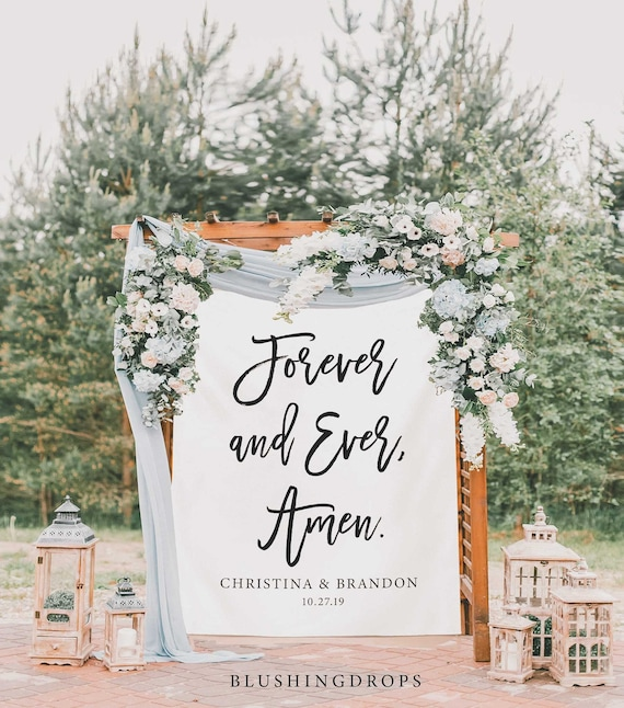Wedding Backdrop Forever And Ever Amen Sign Wedding Anniversary