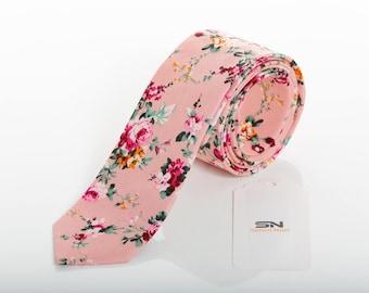 Pink Floral men's tie, Groomsmen wedding tie,Wedding Floral Ties, Floral tie men, Groomsmen gift, Floral ties men,Valentine gifts