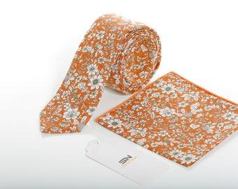 Orange Necktie, Skinny Tie, Orange Pocket Squares,  Floral necktie Groomsmen tie, Men necktie