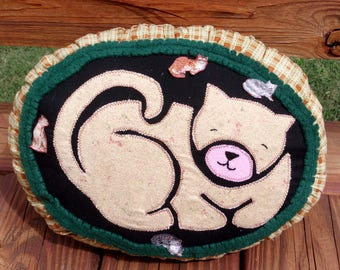 Handmade Curl Up Kitty Pillow