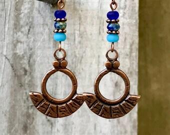 Blue Copper Earrings, Boho Jewelry, Bohemian Jewelry, Boho Earrings, Bohemian Earrings, Rustic Earrings, Statement Earrings, for her
