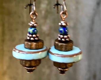 Copper Earrings, Blue Earrings, Turquoise Earrings, Ceramic Earrings, Rustic Earrings, Boho Earrings, Earthy Earrings, Nature Earrings