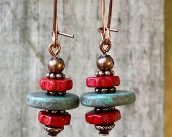 Copper Earrings, Red Earrings, Turquoise Earrings, Ceramic Earrings, Rustic Earrings, Boho Earrings, Bohemian Earrings, Ethnic Earrings
