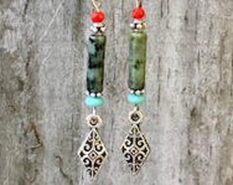 Turquoise Earrings, Bohemian Earrings, Silver Earrings, Rustic Earrings, Boho Jewelry, Gift for Her