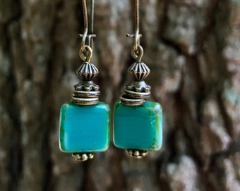 Bronze Earrings, Turquoise Earrings, Czech Glass Earrings, Rustic Earrings, Lightweight Earrings, Boho Earrings, Bohemian Earrings, Earthy